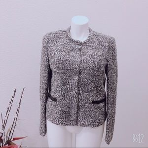 LOFT WOOL BLEND TWEED BLAZER BLACK WHITE SIZE 16